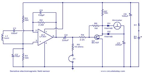 Sensitive Electromagnetic Field Sensor Circuit Diagram World