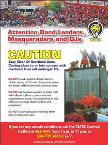 Carnival Safety  U2013 Trinidad And Tobago Electricity Commission