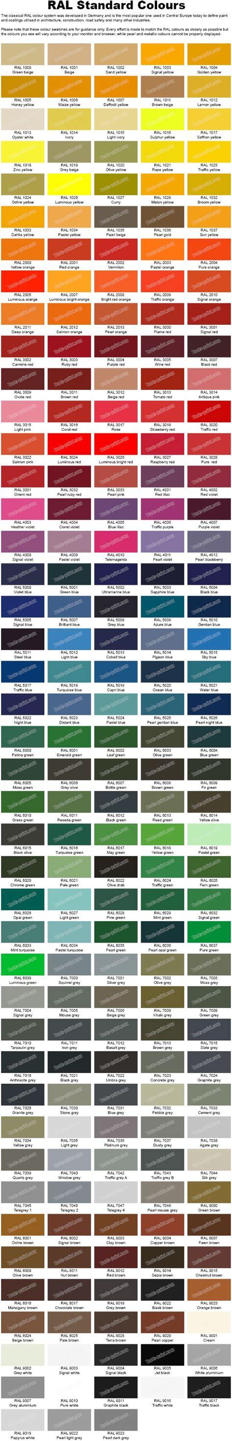 ral standard colours colour charts pinterest colours