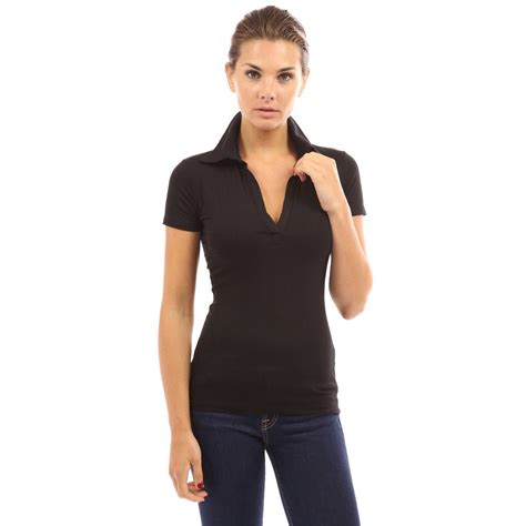 shirts vs blouses womens v neck polo shirt sleeve slim fit casual