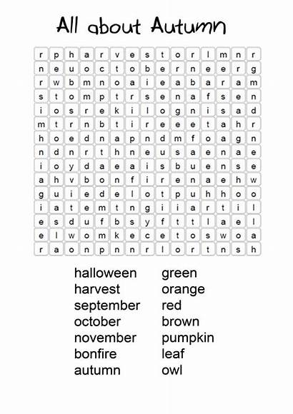 Word Fall Autumn Coloring Pages