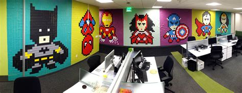 post it bureau office workers install 8 bit mural 8 024