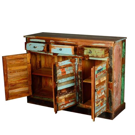 Wood Sideboard Cabinet by Dravin Reclaimed Wood 3 Drawer 3 Door Sideboard Buffet Cabinet