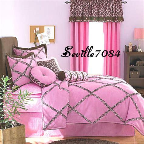 10p Full Seventeen Pink Zebra Giraffe Comforter Setsheets