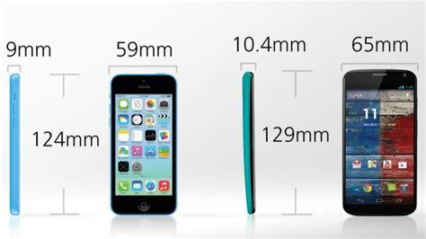 dimensions of iphone 5c iphone 5c vs moto x