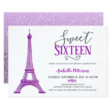 sweet sixteen paris eiffel tower faux glitter invitation