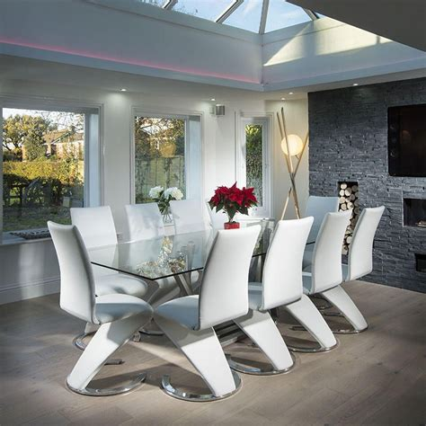 modern large  seater glass stainless steel dining table