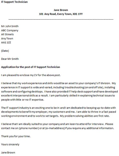 desktop support cover letter covering letter for an it support technician icover org uk 21358 | it support technician cover letter example