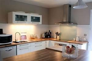 deco cuisine blanc et bois With idee deco cuisine avec cuisine blanc laqué et bois