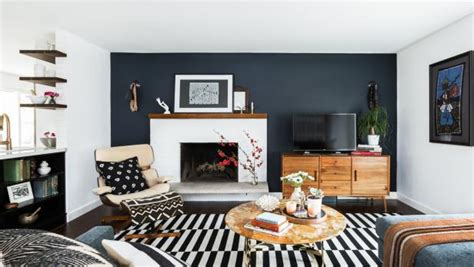 charcoal accent wall  midcentury modern living room hgtv