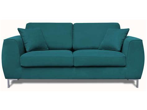 canapé 2 places conforama canapé fixe 2 places en tissu edwin coloris bleu canard