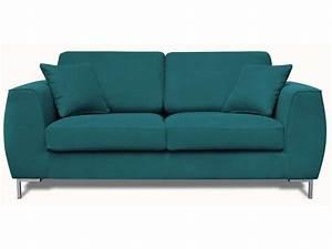 Canapé fixe 2 places en tissu EDWIN coloris bleu canard Vente de Canapé droit Conforama