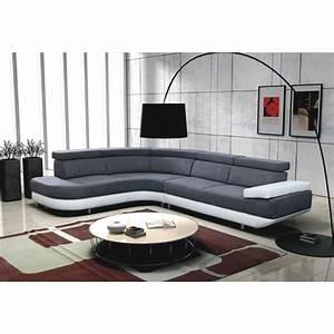 Canape Angle Blanc Et Gris : canap d 39 angle gauche design zeta gris et blanc achat vente canap sofa divan ~ Teatrodelosmanantiales.com Idées de Décoration