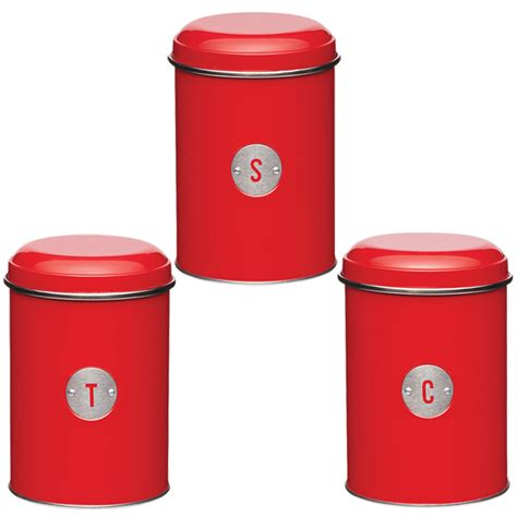 airtight kitchen canisters new kitchen craft metro kitchen 3 red canisters airtight tea coffee sugar tins ebay