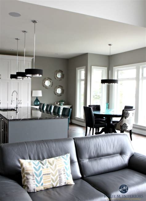Gray Living Room Blue Kitchen by A Contemporary And Comfortable New Home In Nanaimo