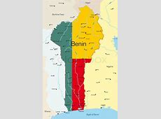 Abstract vector color map of Benin country colored by
