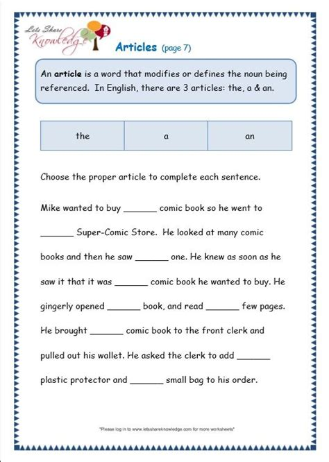 grade 3 grammar topic 34 articles worksheets lets share