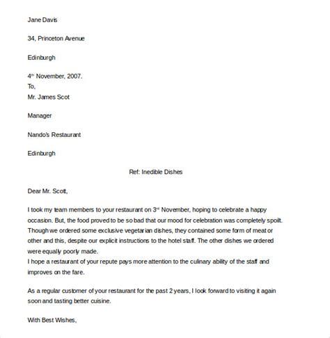 restaurant  hotel complaint letter templates