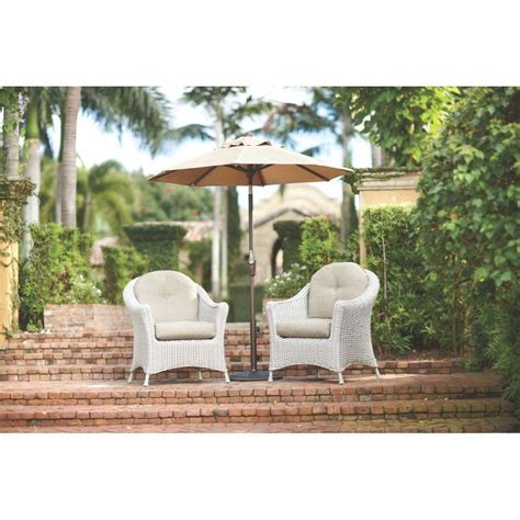 martha stewart living lake adela patio bone chat chairs with wheat cushions 2 pack 1929010830