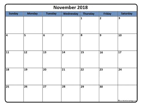 gray and white shades november 2018 calendar 51 calendar templates of 2018