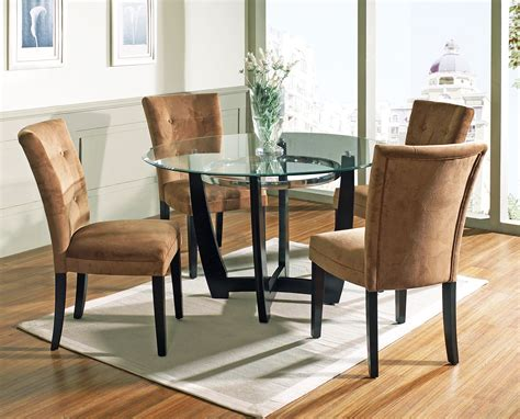 furniture glass top dining table with brown