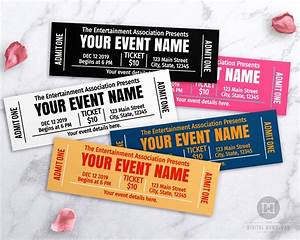 Printable Editable Recipe Cards Event Ticket Template Printable Choose Your Own Colors