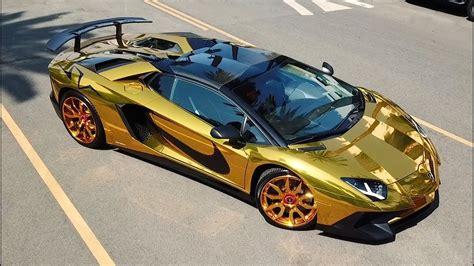 A Golden Lamborghini by Forgiato Chris Brown Gold Lamborghini Aventador On