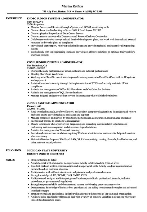 It Systems Administrator Resume by Junior System Administrator Resume Bijeefopijburg Nl
