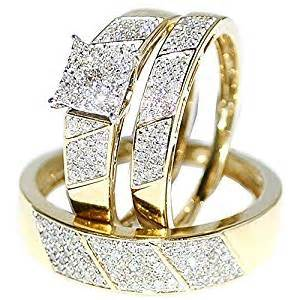trio wedding ring sets his wedding rings set trio 10k yellow gold jewelry