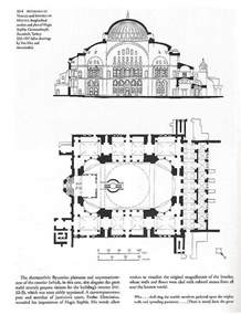 hagia longitudinal section and floor plan including ambo architecture