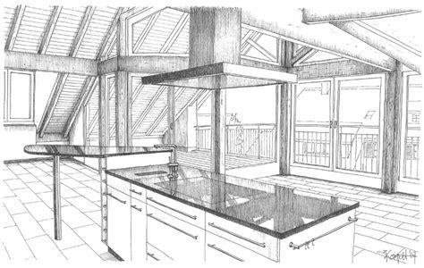 Kuche Zeichnung by Innenausbauten Visualisierungen Schwarzenbach Architekten