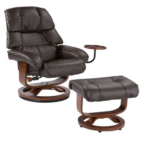 euro style recliner  ottoman  brown leather
