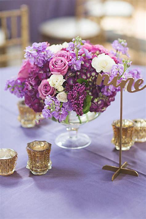 floral centerpiece purple  gold wedding  union