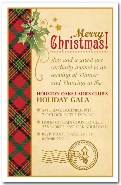 holly  plaid holiday party invitations christmas invitation