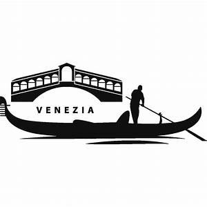Stickers muraux Pays et Villes Sticker Venise gondole avec pont Ambiance sticker