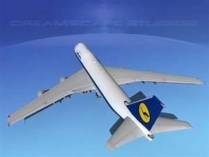 Boeing 747-100 Lufthansa 3D Model rigged max obj 3ds