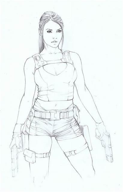 Croft Lara Drawing Alison Da Coloring Drawings