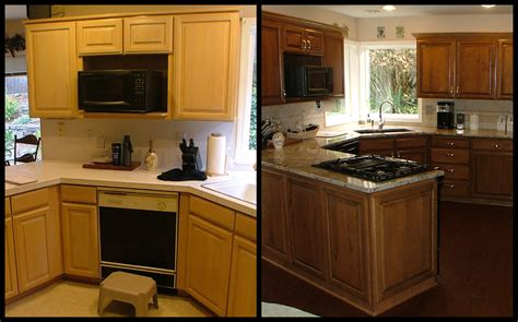 new cabinets or reface before and after refacing kitchen cabinets island granite