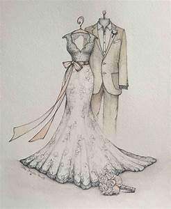 pencil and in color drawn vintage wedding dress sketches With pencil wedding dress