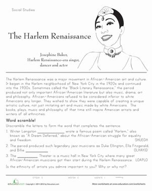 history of the harlem renaissance worksheet education