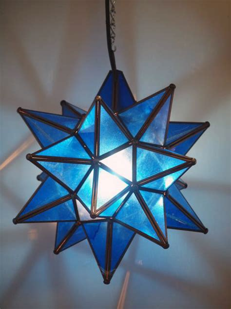 mexican blue glass star lantern large furniture
