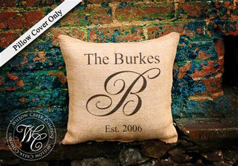 burlap pillow cover personalized wedding gift pillow