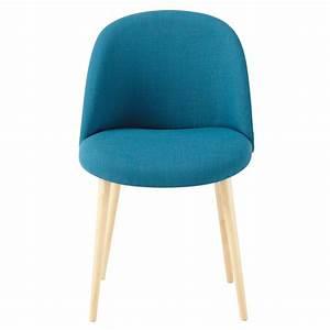 chaise vintage en tissu et bouleau massif bleu petrole With couleur de maison tendance exterieur 9 petit fauteuil en tissu jaune vintage maison du monde