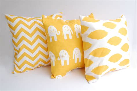 throw pillow inserts throw pillows yellow set of three 18 x 18 by thepillowpeople