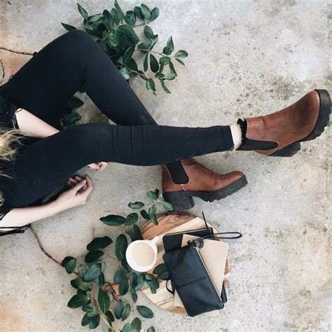 Shoes boots booties ankle boots brown leather boots chelsea boots heels tumblr outfit ...