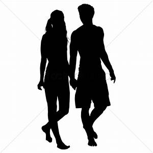 Silhouette of couple walking together Vector Image ...