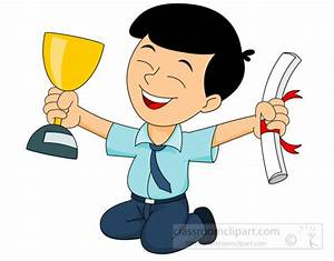 School Clipart - excited-student-holding-trophy-and ...