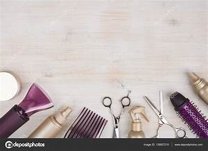 Hairdresser tools on wooden background with copy space at ...