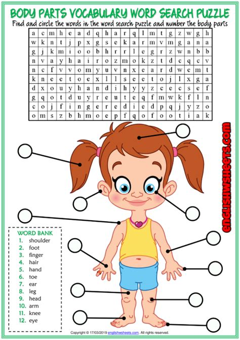 body parts esl printable word search puzzle worksheet