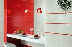 faience salle de bain rouge et blanc With faience cuisine rouge et blanc